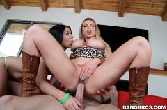 stepmom nikki benz teaches her daughter madelyn monroe how to suck a dick